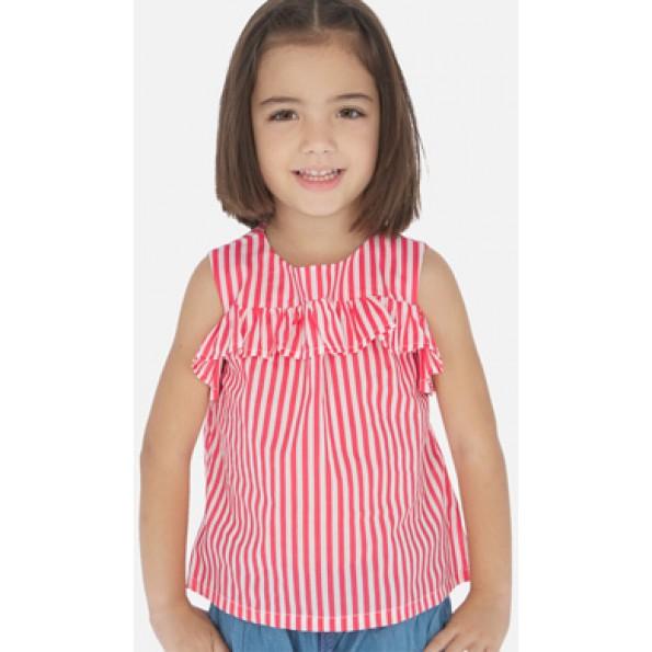 Blusa de manga curta com aberturas nos ombros para menina. Gola redonda. Aperta com botões nas costas para facilitar a colocação da peça