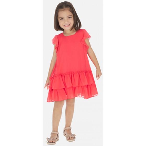 Vestido de manga curta para menina com detalhes de folho. Tecido flutuante de bambula para os looks mais frescos. Modelo com folho.