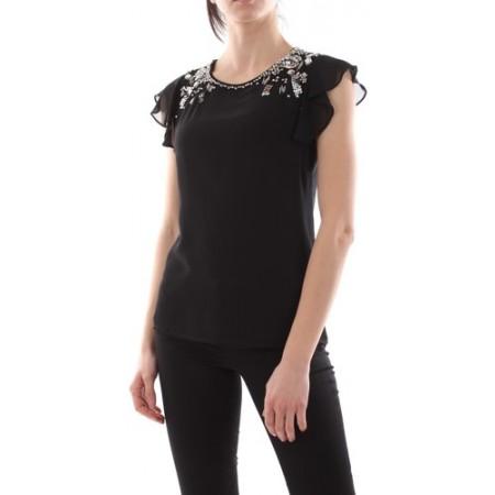 Top LIUJO de jersey com mangas de georgette e molduras de jóias refinadas bordadas na frente. 100% Polyester