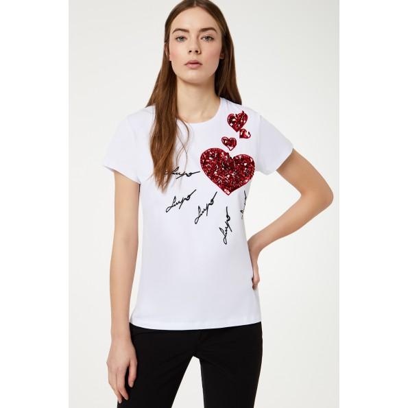 T-Shirt de manga curta de algodão elástico com bordados aplicados e lantejoulas na frente. PA0111 J5910Composição: 100% algodão
