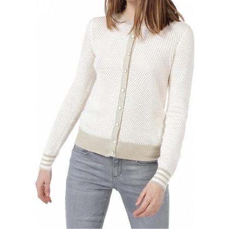 Casaco de gola redonda em malha aberta com fecho de botão e mangas compridas. Composição: 100% algodão.