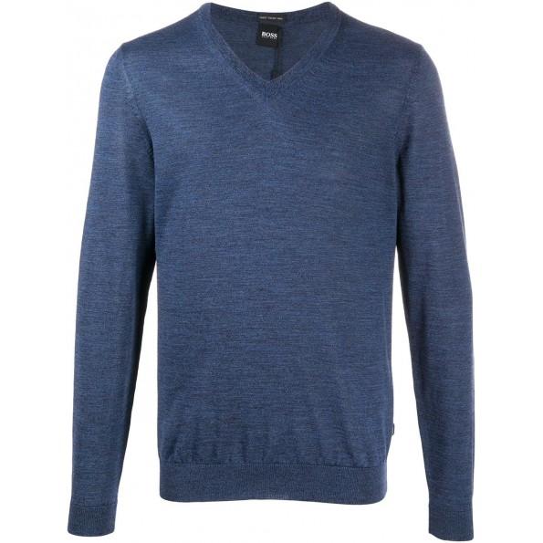 Suéter clássico Hugo Boss com decote em V azul médio.É feito de um tecido de puro algodão muito macio. Seu corte regular é muito lisonjeiro.