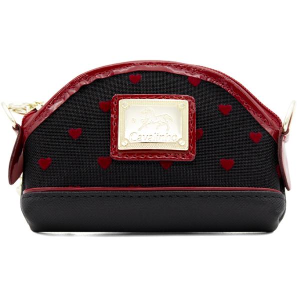 """Moedeiro Cavalinho """"Endless Love"""" Ref- 28890251. Pequeno e prático com argola para chaves.Em tela lisa e pele genuína com detalhes em veludo vermelho."""