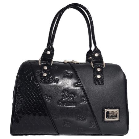 Bolsa de mão Cavalinho Ref. 18500299. Bolsa em tela lisa e pele genuína.