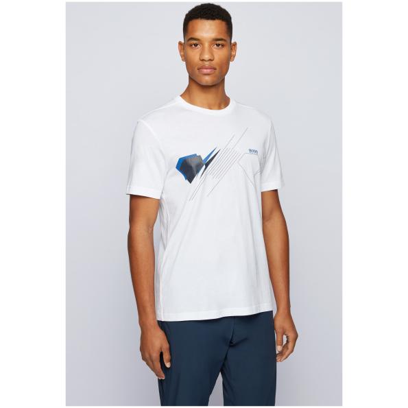 T-shirt da BOSS jersey suave. Com um padrão geométrico e logotipo da BOSS. Compre e ajude a BOSS a apoiar o Cotton Made in Africa.