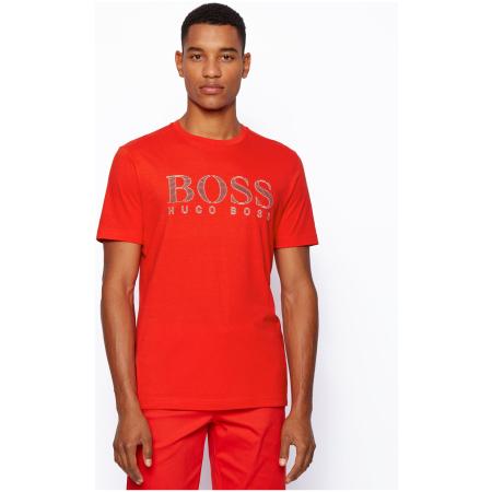 T-shirt de manga curta da BOSS Menswear, estampada no peito com um logótipo multicor composto por riscas finas
