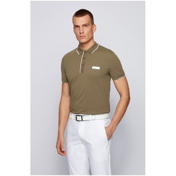 Polo BOSS desenhada com mangas curtas e um corte justo pela BOSS Menswear. Listas contrastantes aparecem na gola, na carcela e nos punhos.