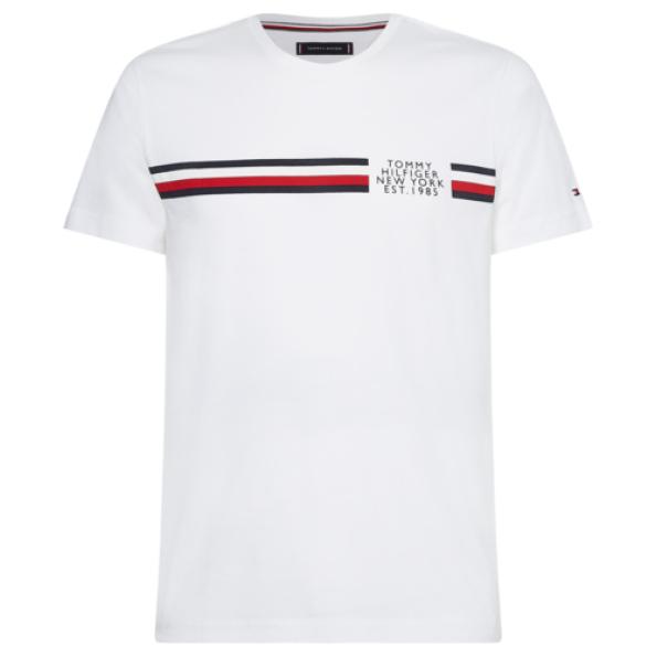 T-shirt manga curta Tommy Hilfiger CORP SPLIT TEE MW0MW16592 em algodão e listas com logotipo bandeira no peito.