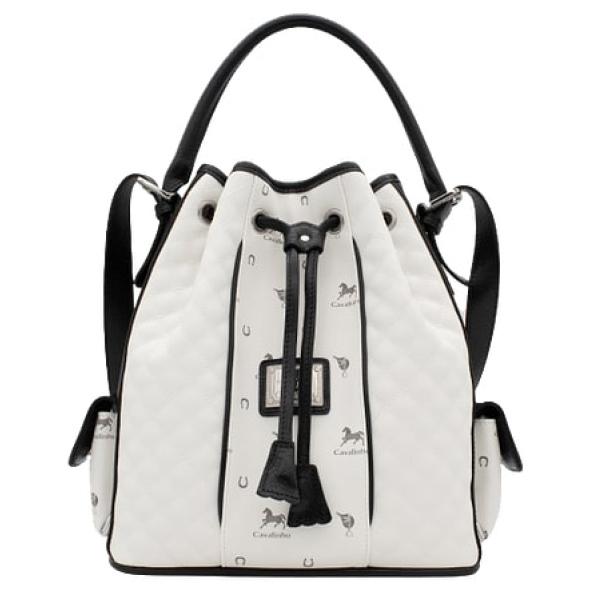 """Bolsa de cordão Cavalinho Another Skin """"Branco e Preto"""" Ref: 18800360.06.99 com dupla funcionalidade. Escolha entre a opção de mão ou a alça"""