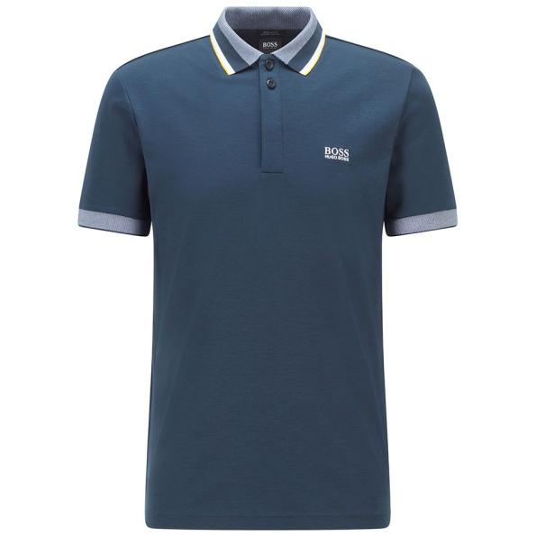 Polo BOSS com logotipo de algodão com listas de três cores_50448589 Paddy 1