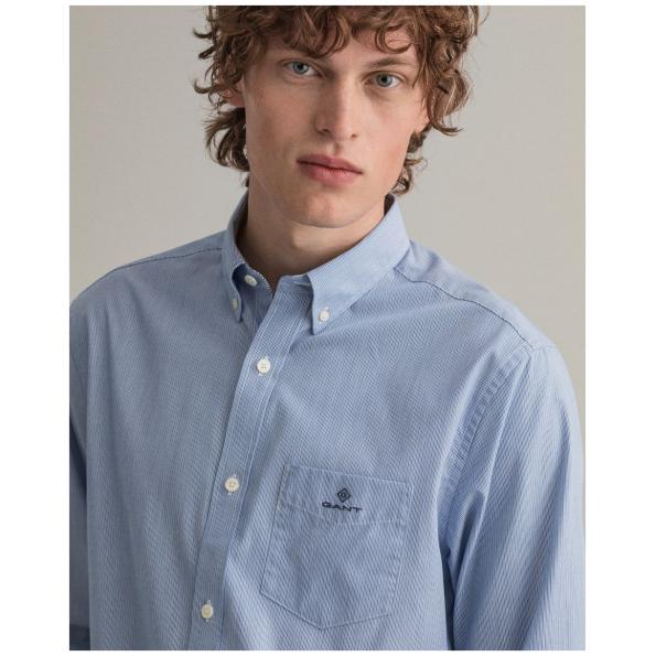 Camisas GANT em popelina às riscas micro regular fit