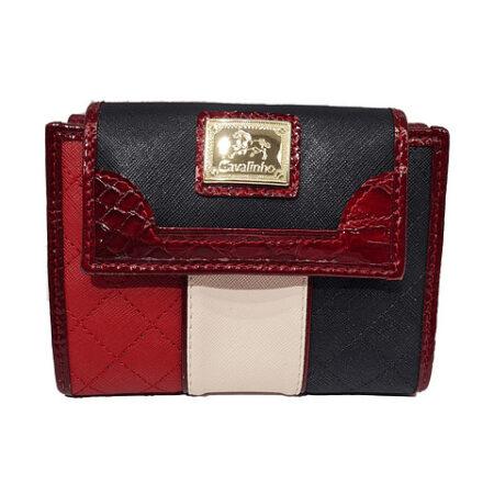 Mini carteira Cavalinho Another Skin tricolor. Em pele genuína e envernizada, inclui compartimento para moedas e capacidade para 12 cartões.