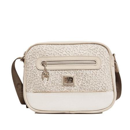 Bolsa de tiracolo de senhora Cavalinho Gold com asa regulável. A divisão principal apresenta um fecho de correr personalizado.
