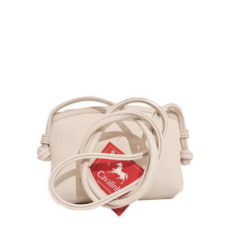 Bolsa de tiracolo Cavalinho Gold Bege com fecho de correr personalizado. No seu interior possui um bolso com fecho de correr.