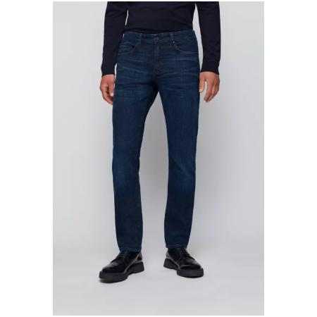 Jeans BOSS justos com toque de caxemira azul
