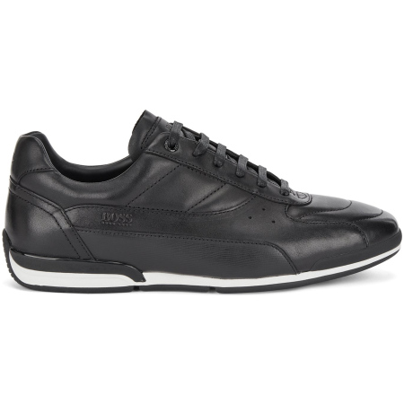 Sapatilhas BOSS em couro com painel em relevo. Estes tênis são confecionados em couro napa com acabamentos em relevo.