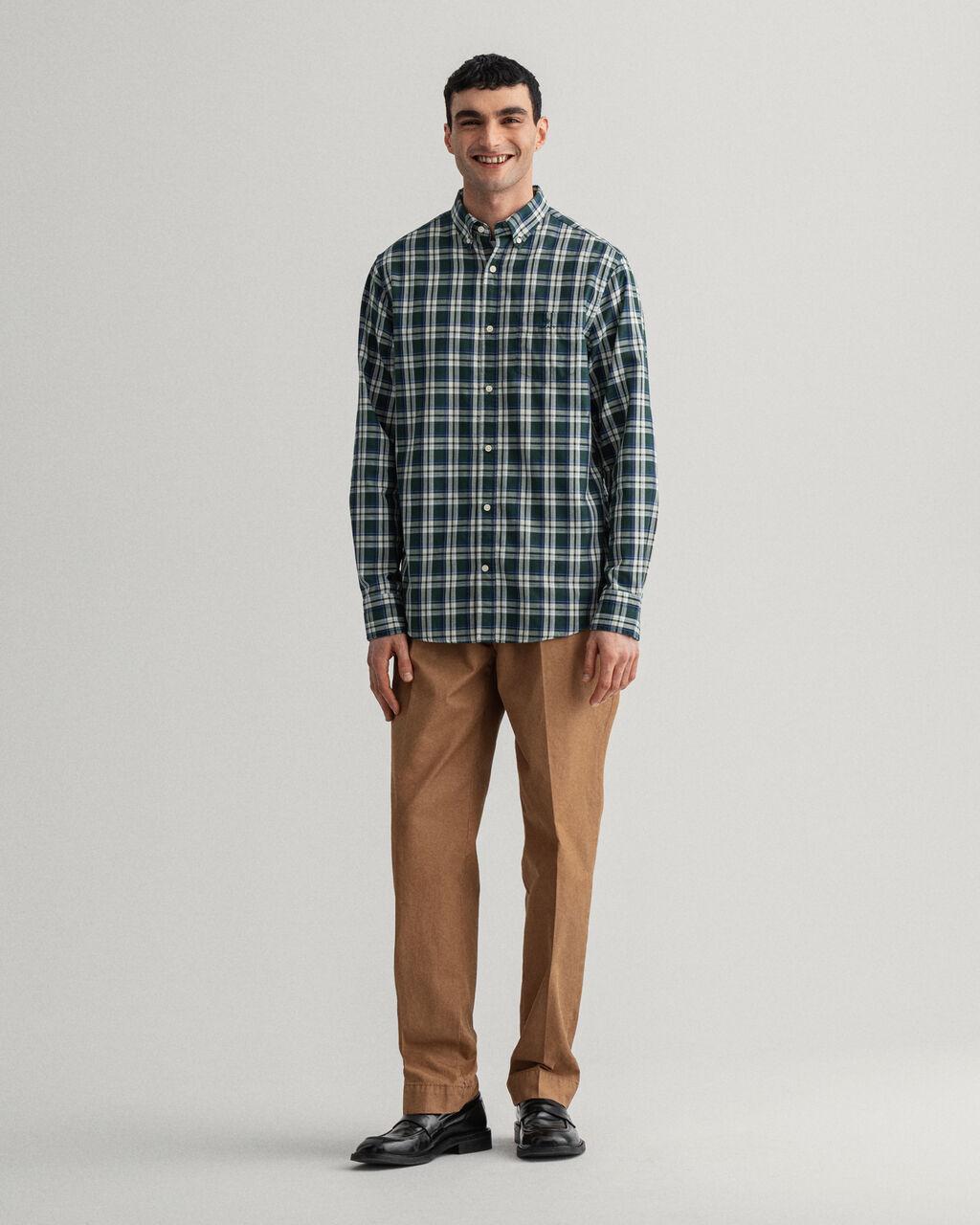 Camisa GANT Oxford com padrão de xadrez índigo Tech Prep™