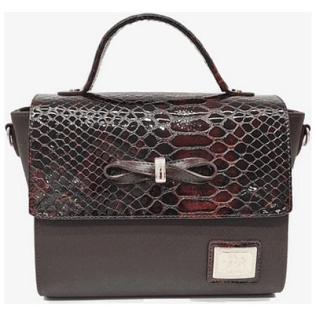 Bolsa de mão com alça de ombro extra e uma pala com fecho de íman. A divisão principal possui compartimentos com fecho de correr.